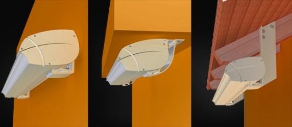 Zleva: montáž markýzy do stěny,  montáž do stropu, montáž na strešní krovy