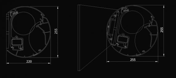 Markýza s montáží do zdi (vlevo) a varianta s motáží přes nosnou konstrukcí.